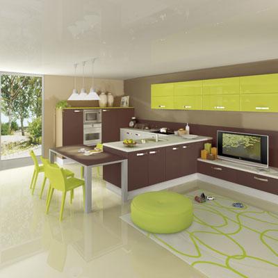 Decoration cuisine vert olive for Deco de cuisine vert anis