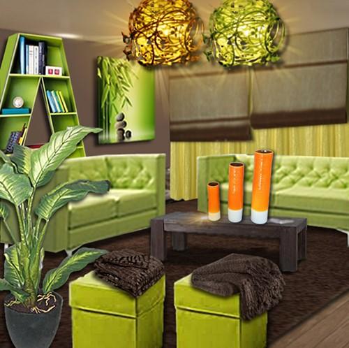decoration salon orange vert. Black Bedroom Furniture Sets. Home Design Ideas