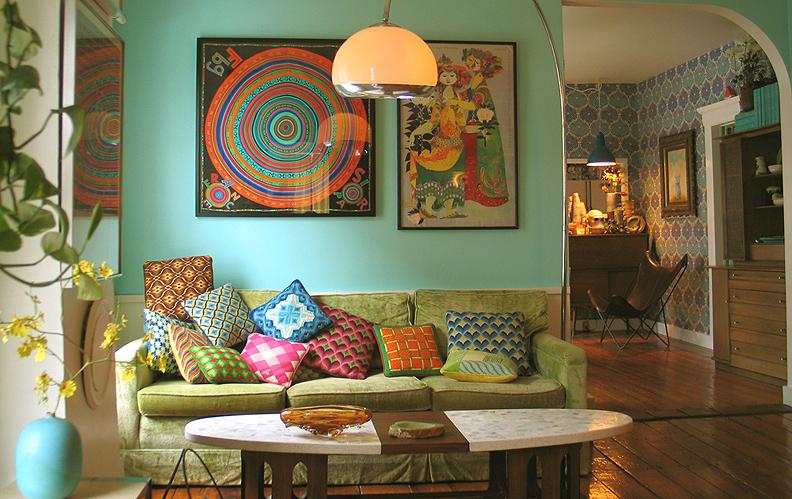 Deco Hippie Chambre : Colorful Vintage Living Room Ideas