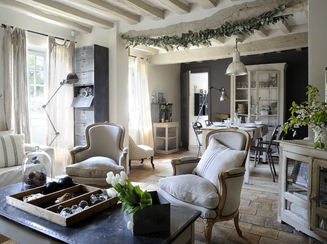 D co maison de campagne chic for Idee deco chambre chic
