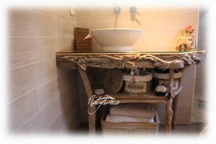 exemple déco salle de bain bois flotté - Photo Déco