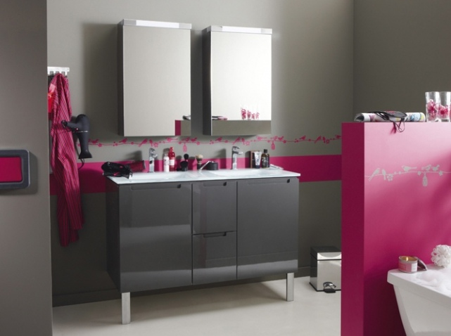 d co salle de bain fushia. Black Bedroom Furniture Sets. Home Design Ideas