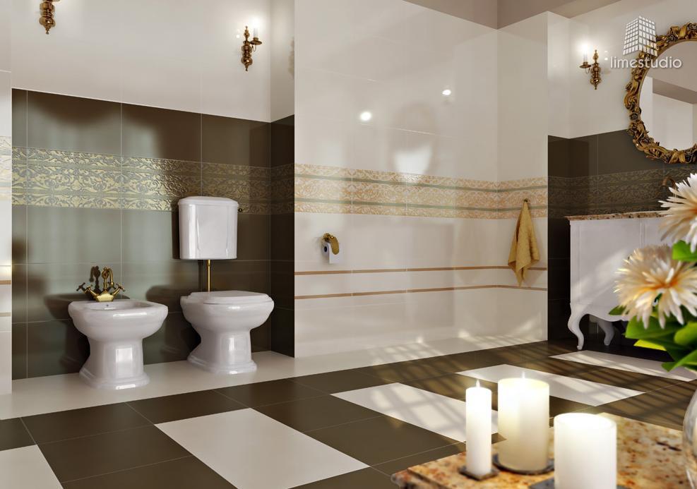 belle déco salle de bain marron et blanc - Photo Déco