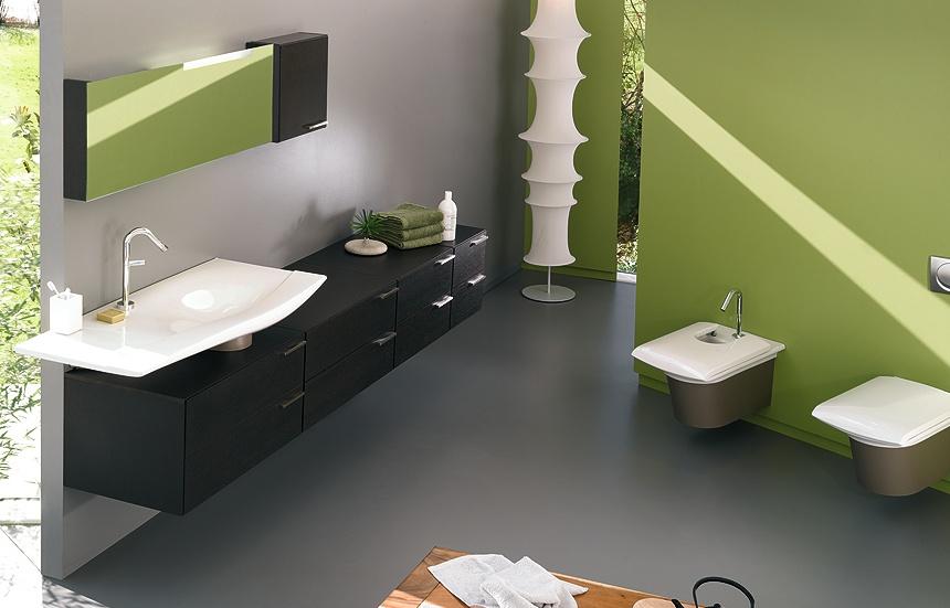 D co salle de bain noir et vert - Salle de bain vert et marron ...