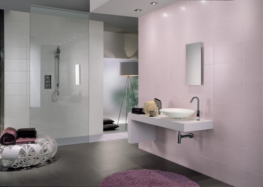 idée déco salle de bain rose et gris