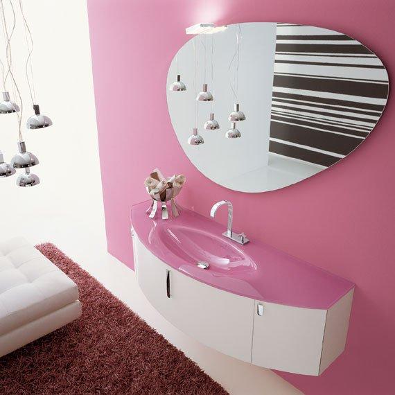 univers déco salle de bain rose et gris - Photo Déco