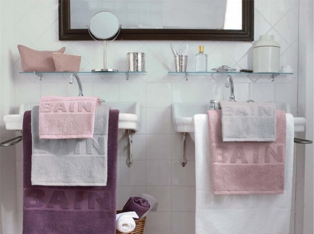 Photo decoration d co salle de bain rose et gris for Deco salle de bain rose