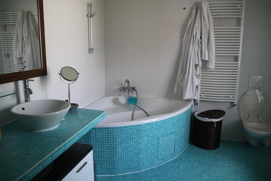 exemple décoration salle de bain carrelage bleu