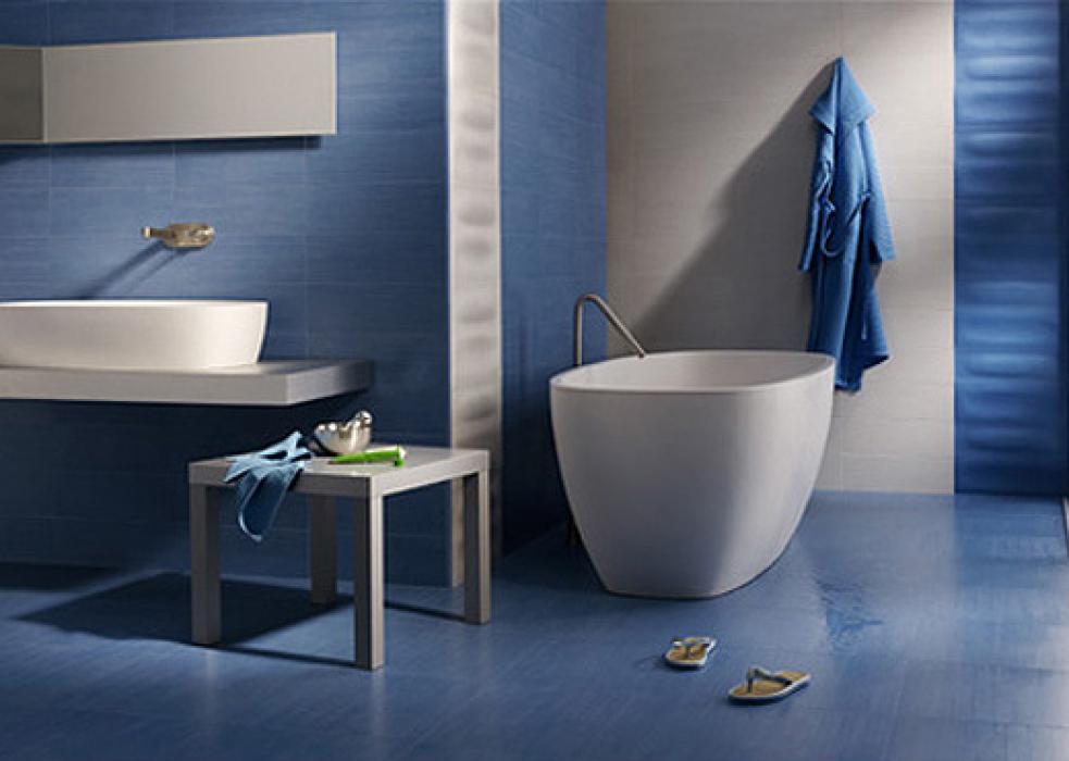 modèle décoration salle de bain carrelage bleu - Carrelage Salle De Bain Bleu