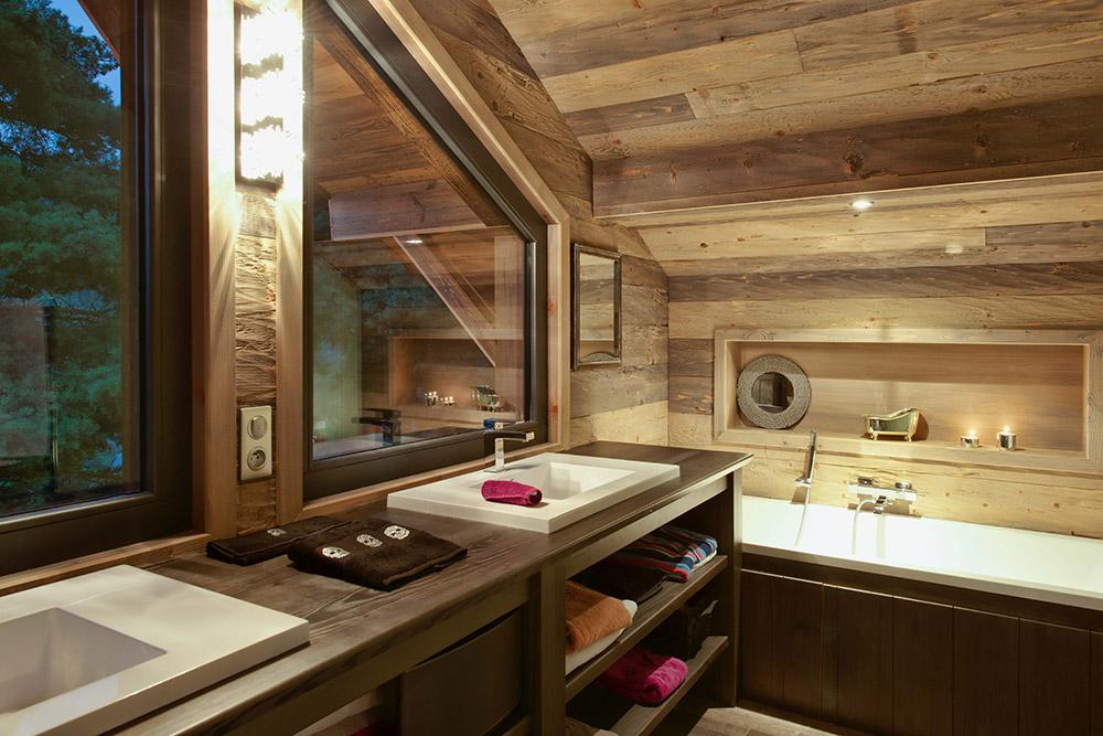 exemple décoration salle de bain chalet - Photo Déco