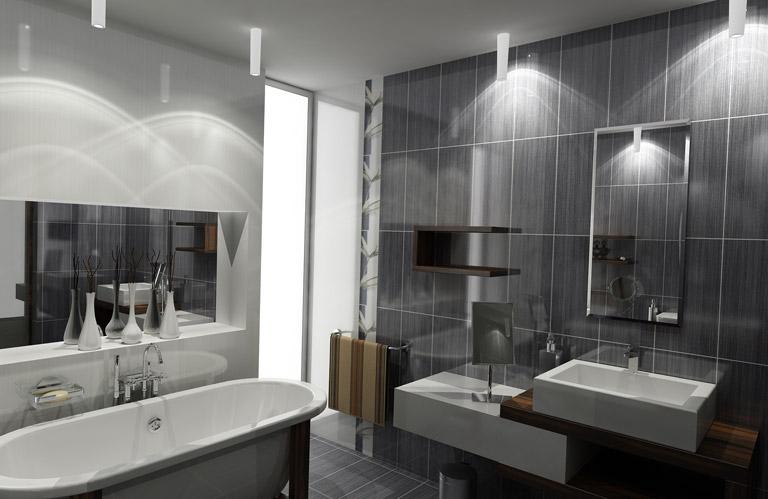 D coration salle de bain gris et blanc for Salle de bain aubergine et blanc