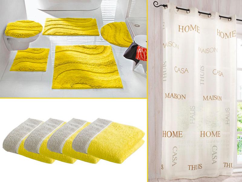 D coration salle de bain jaune - Accessoire salle de bain jaune ...