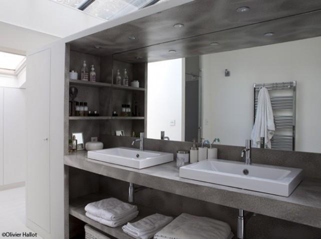 D coration salle de bain masculine for Salle de bain beton lisse