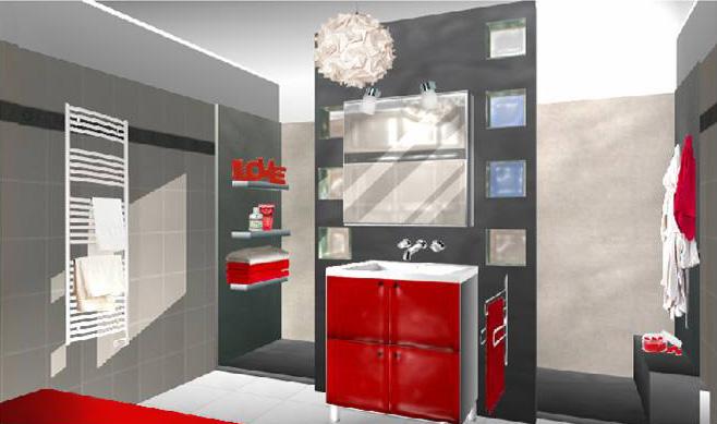 d233coration salle de bain rouge