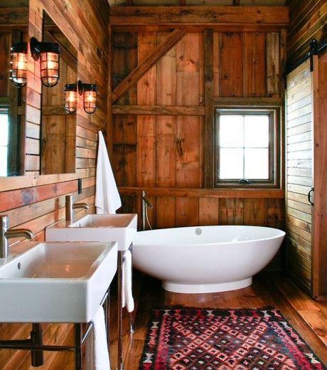 d coration salle de bain rustique. Black Bedroom Furniture Sets. Home Design Ideas