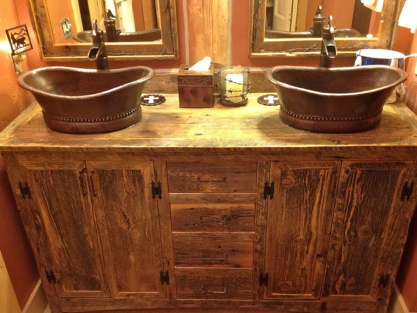 Photo décoration salle de bain rustique - Photo Déco