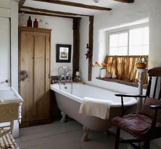 Jolie décoration salle de bain rustique - Photo Déco