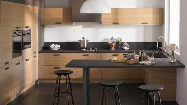 Cuisine comptoir noir for Deco de cuisine modele