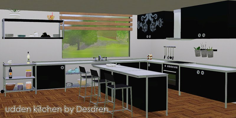 Cuisine Equipee Moderne Avec Ilot Central : idée cuisine ikea udden noir