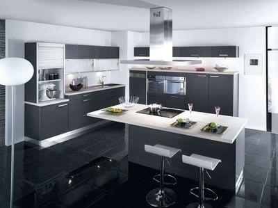 cuisine ilot noir. Black Bedroom Furniture Sets. Home Design Ideas
