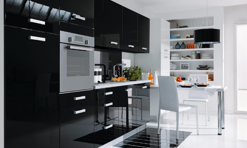 Cuisine noir design for Cuisine deco design