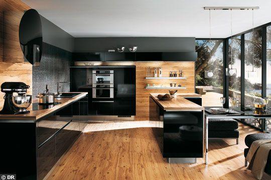 Cuisine noir et bois for Deco cuisine noir et bois