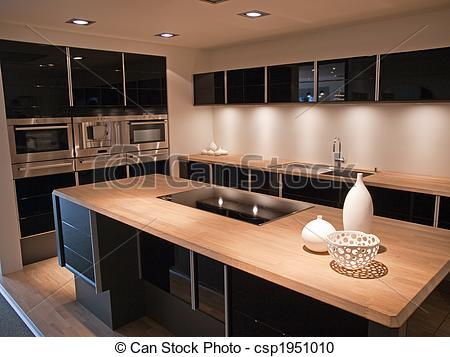 Cuisine noir et bois for Organisation cuisine