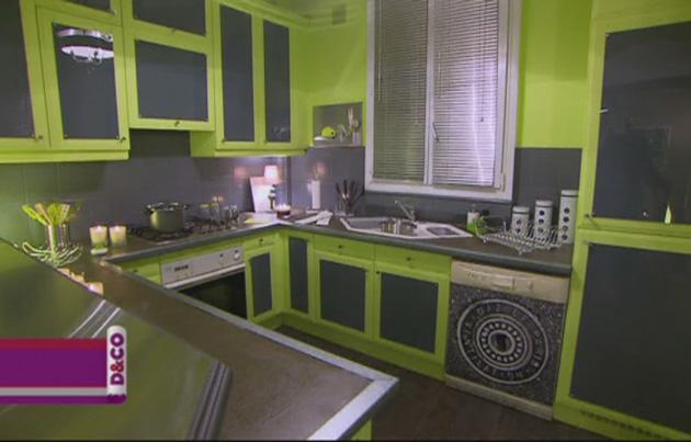 Cuisine noir gris vert for Cuisine gris et vert