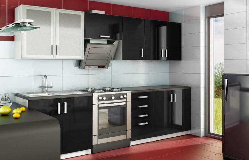 cuisine noir laqu pas cher. Black Bedroom Furniture Sets. Home Design Ideas