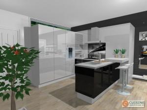 Cuisine noire ouverte sur salon for Cuisine blanche ouverte sur salon