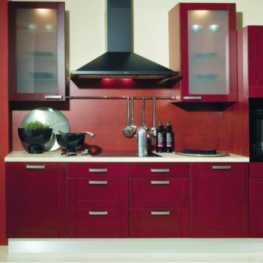 cuisine rouge bois. Black Bedroom Furniture Sets. Home Design Ideas