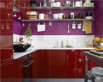 Cuisine rouge cerise for Modele cuisine rouge