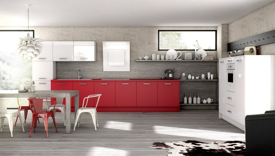 Photo decoration cuisine rouge et blanc - Cuisine design rouge et blanc ...