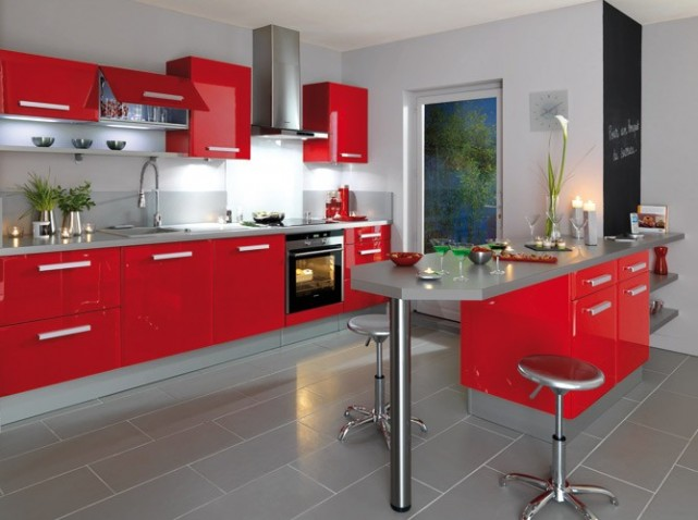 Cuisine rouge et marron for Deco cuisine marron