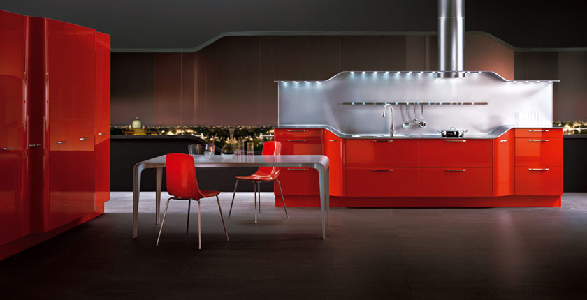 aménagement cuisine rouge et marron