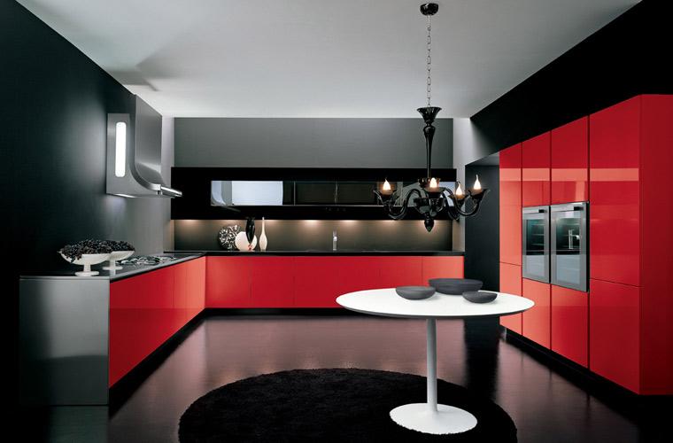 Cuisine rouge gris noir - Idee deco cuisine rouge ...