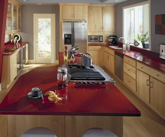 Cuisine rouge plan de travail for Plan de travail ilot cuisine