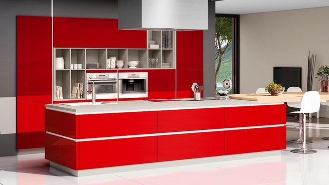 cuisine rouge vif. Black Bedroom Furniture Sets. Home Design Ideas