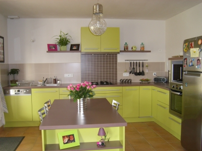 Cuisine vert anis et blanc for Deco salon vert anis