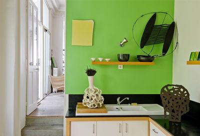 Cuisine vert pomme et chocolat - Cuisine mur vert pomme ...