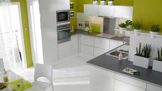 Chambre Scandinave Blanche : belle cuisine verte et blanche