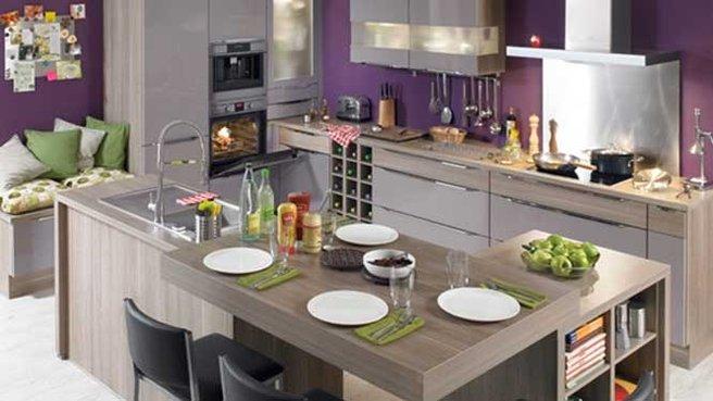 Cuisine verte et violette - Deco cuisine violet ...