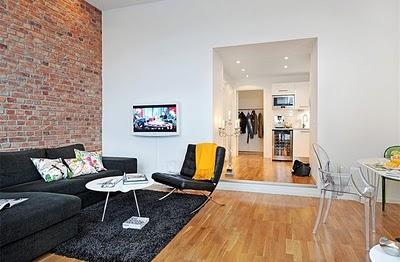 D co appartement brique for Exemple deco studio