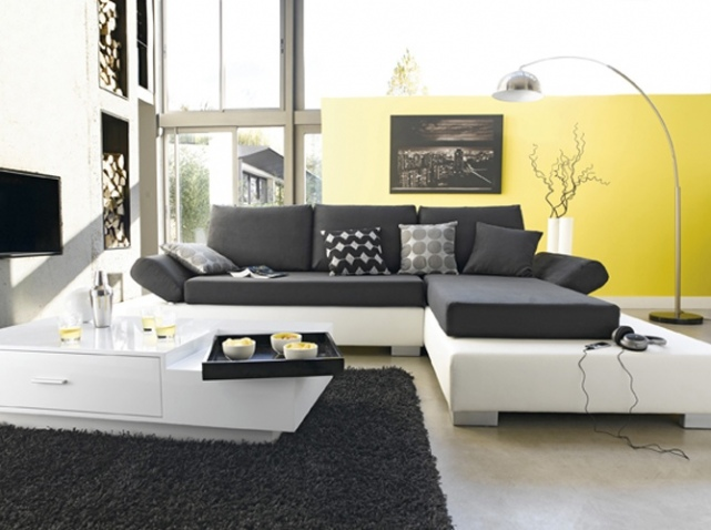 D co salon jaune et gris for Deco salon moderne gris