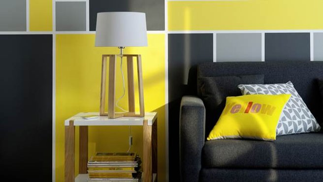 d co salon jaune et gris. Black Bedroom Furniture Sets. Home Design Ideas