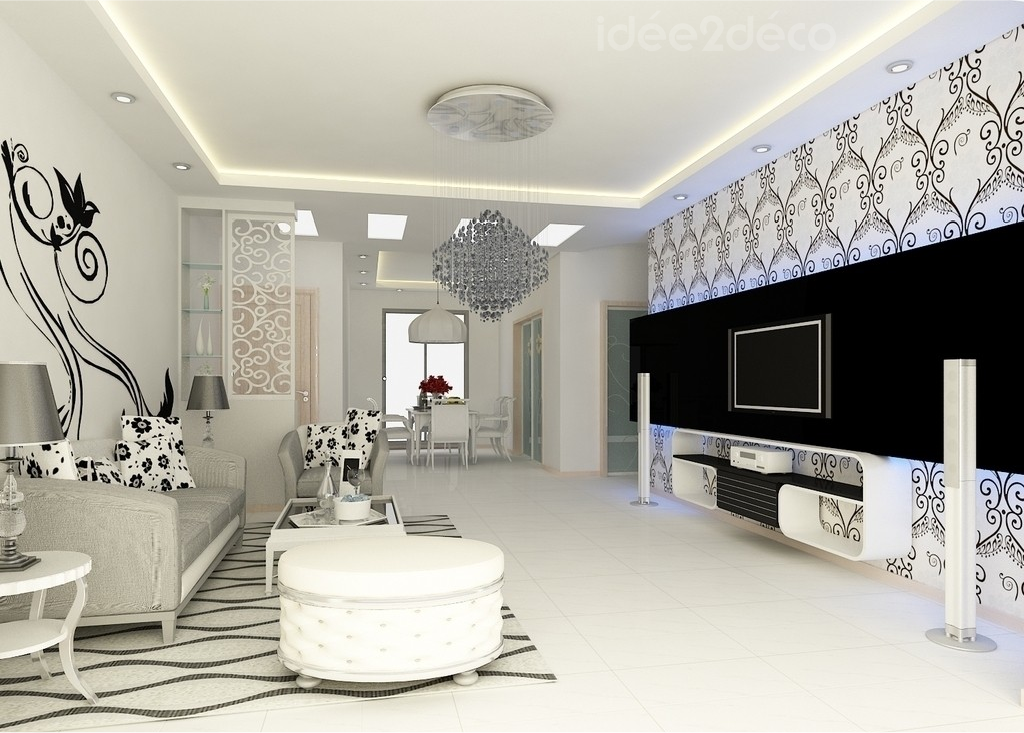 Deco salon design noir et blanc for Deco design salon