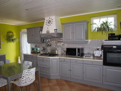 cuisine couleur vert de gris. Black Bedroom Furniture Sets. Home Design Ideas