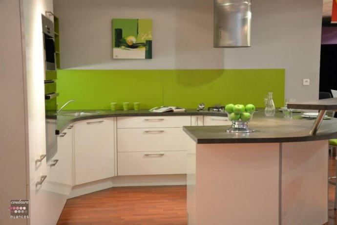 Cuisine en vert pomme for Peinture cuisine vert anis