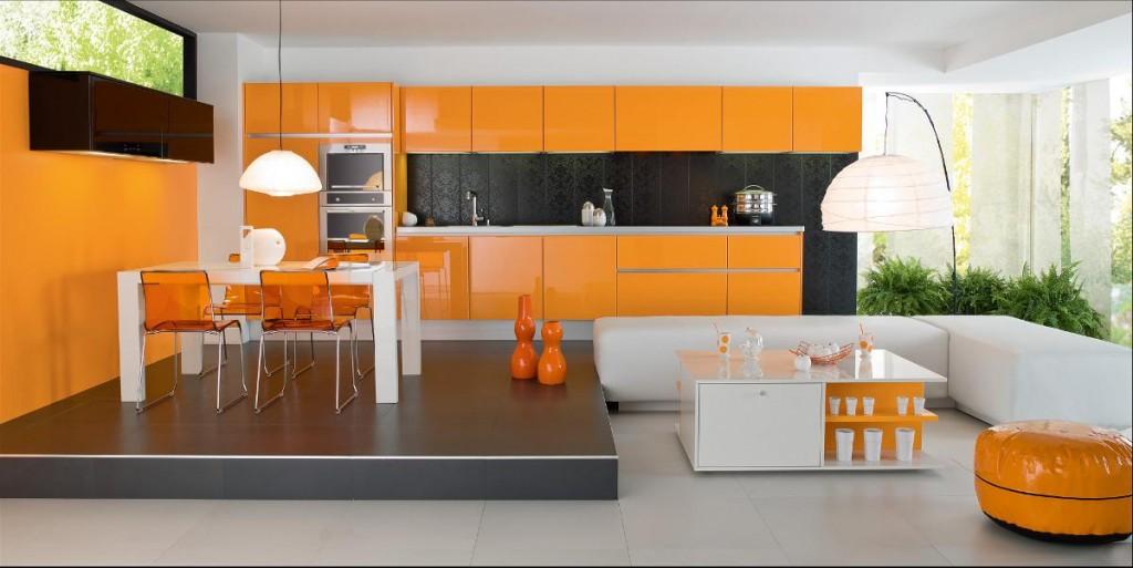 Cuisine moderne vert pistache for Deco cuisine gris et orange