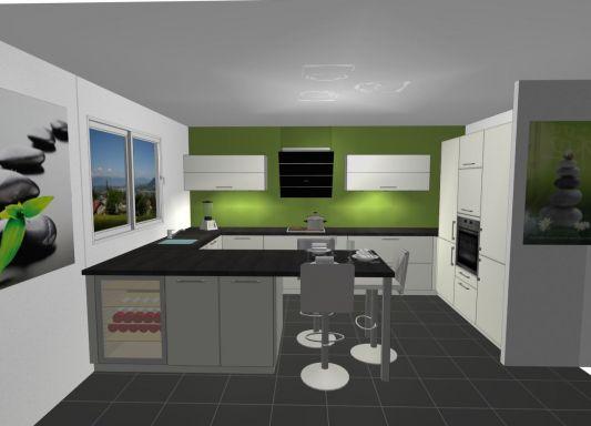 Cuisine mur vert olive - Salle de bain gris vert ...